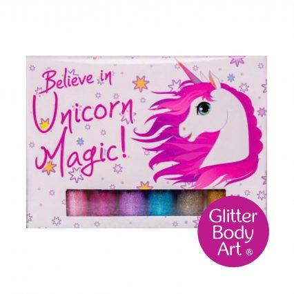 Unicorn temporary tattoo set with unicorn stencils and glitter