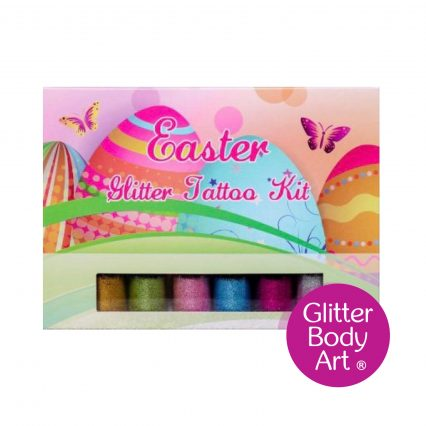 easter glitter tattoo kit with easter stencils and glitters