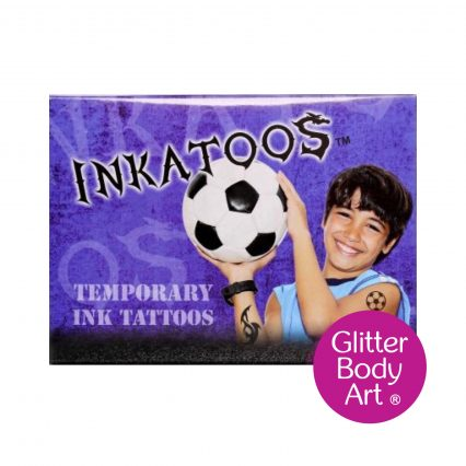 Ink tattoo box with temporary tattoo stencils and ink
