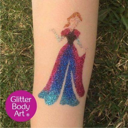 Disney princess temporary tattoo stencil for princess glitter tattoos