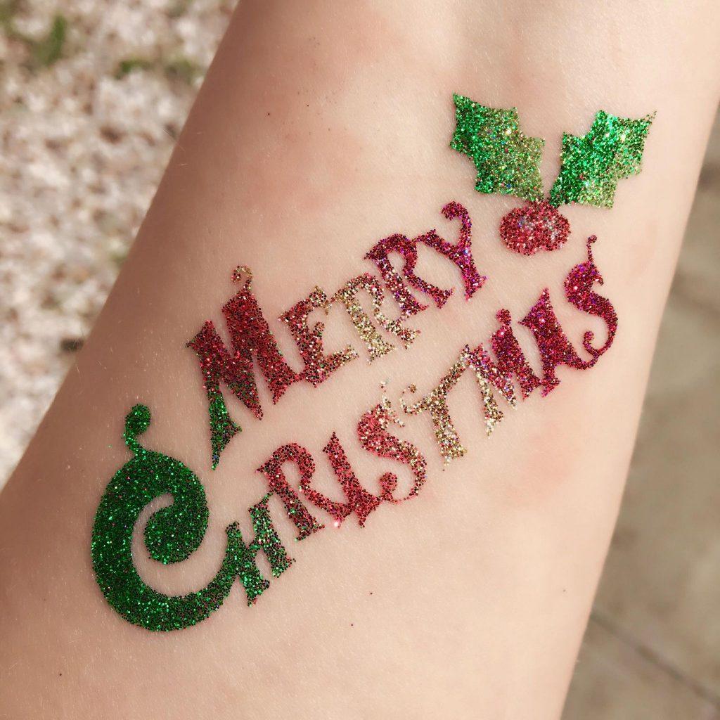 Merry Christmas Glitter Tattoo