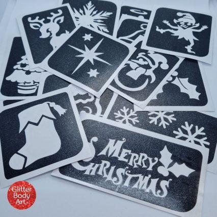 christmas stencils for glitter tattoo kit