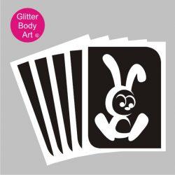 Easter bunny glitter tattoo stencil