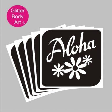 Hawaiian Aloha writing with floral design temporary tattoo stencil