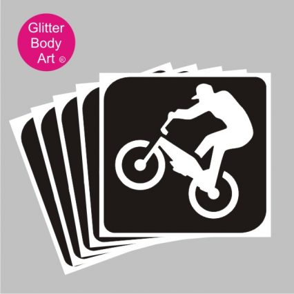 biker temporary tattoo stencil, sporting stencil design