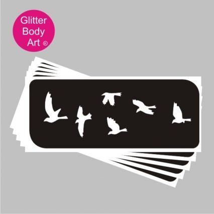 flock of birds stencils for temporary tattoos
