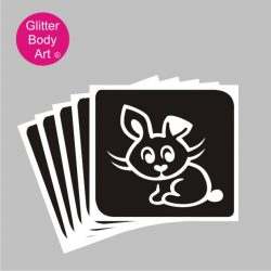 cute bunny rabbit glitter tattoo stencil, bunny temporary tattoo stencil