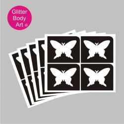 four mini butterfly temporary tattoo stencils