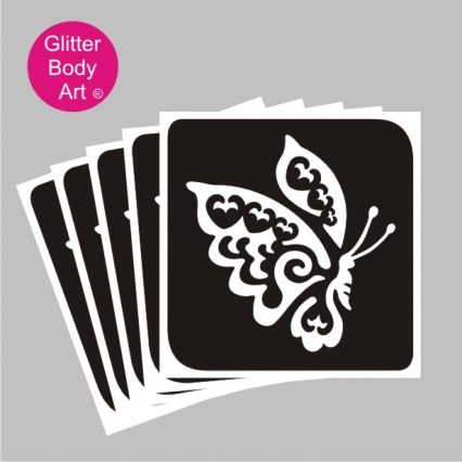 pretty flying butterfly temporary tattoo stencil, flutterfly heart temporary tattoo stencil