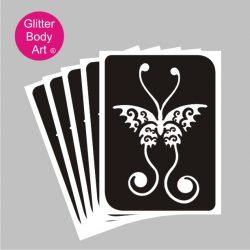 long pretty butterfly glitter tattoo stencil