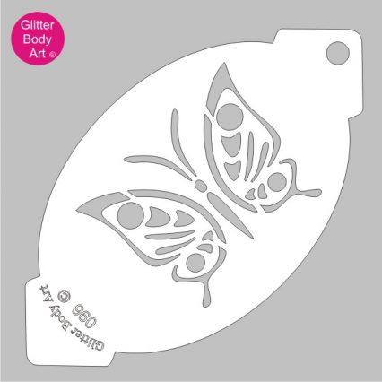 open winged butterfly facepaint stencil