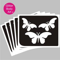 three beautiful flying butterfly temporary tattoo stencil