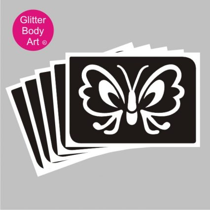 pretty butterfly with open wings, temporary tattoo stencil