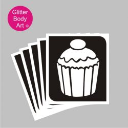 Cupcake temporary tattoo stencil, cupcake stencil template for temporary tattoos