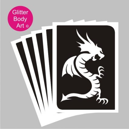 dragon temporary tattoo stencils for glitter tattoos, dragon birthday party
