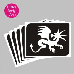 cute baby dragon temporary tattoo stencill for glitter tattoos