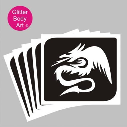 Dragon temporary tattoo stencil, dragon with flames party stencils