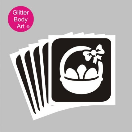 easter egg in basket with bow, cute easter glitter tattoo stencil