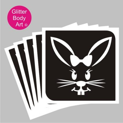 easter bunny with bow glitter tattoo stencil, easter temporary tattoo template