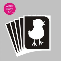 easter chick glitter tattoo stencil, chick temporary tattoo stencil