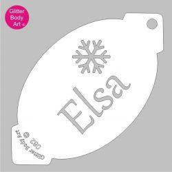 elsa word with snowflake facepaint stencil