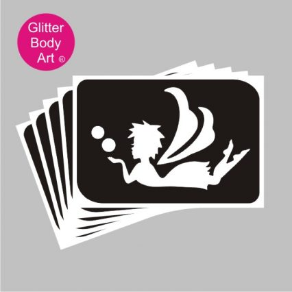 fairy laying down blowing bubbles, temporary tattoo stencils for fairy party