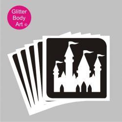 disney princess castle stencil for temporary tattoo, set of 5 or 25