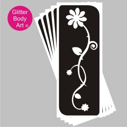 beautiful daisy on long stem temporary tattoo stencil for back or arm