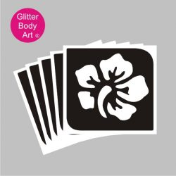 hibiscus flower with five petals temporary tattoo stencil