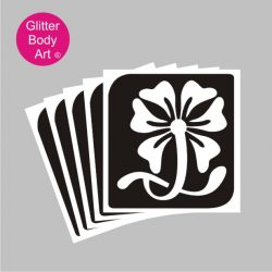 large swirly flower temporary tattoo stencil