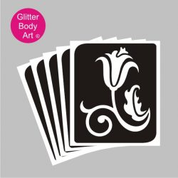pretty tulip flower with curly stem and leaf temporary tattoo stencil