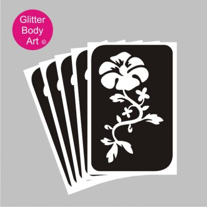 florwer with trailing stem temporary tattoo stencl