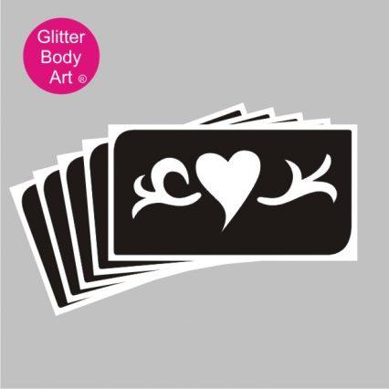 heart vine temporary tattoo stencil for glitter tattoos