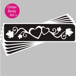 double hearts with vines each side, heart temporary tattoo stencil
