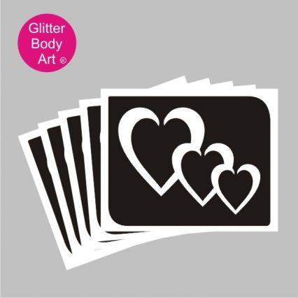 tripe hearts temporary tattoo stencil
