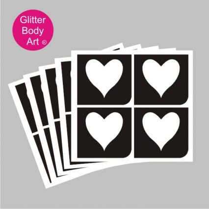 four hearts temporary tattoo stencil pack of 5 or 25