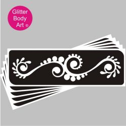 circular floral plant glitter tattoo stencil for lower back or arm