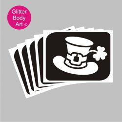 irish leprechaun hat temporary tattoo stencil for glitter tattoos, irish rugby