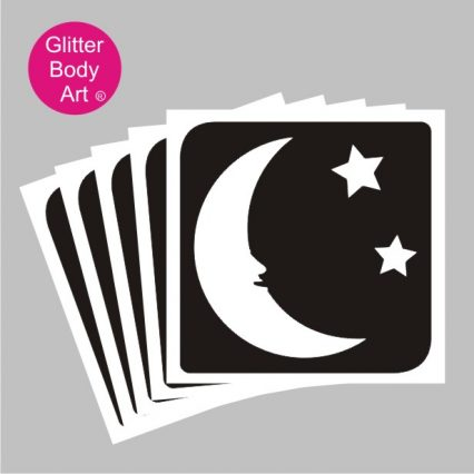 moon with two stars temporary tattoo stencil