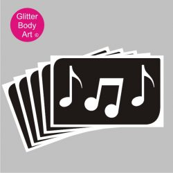 Musical notes temporary tattoo stencil for glitter tattoos