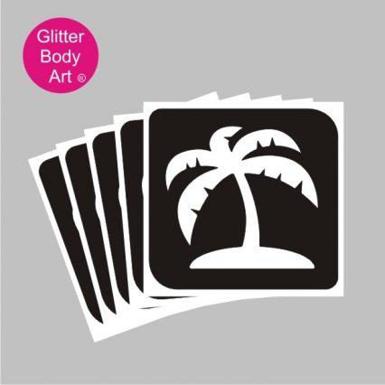 large palm tree on island temporary tattoo stencil, moana stencil, Hawaiian party design