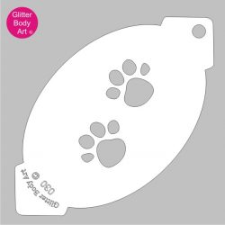 pair of cat or dog paw prints face paint stencil