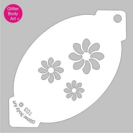 three swirly flowers of varying sizes, floral facepaint stencil