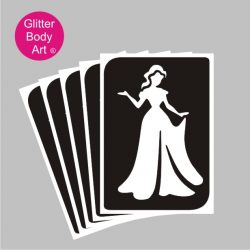 pretty princess in ballgown temporary tattoo stencil, elsa stencil, disney princess stencil