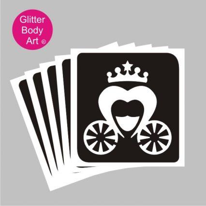 Disney princess carriage temporary tattoo stencil for kids glitter tattoos