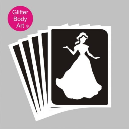 dancing princess temporary tattoo stencil for kids glitter tattoos, princess party idea stencil
