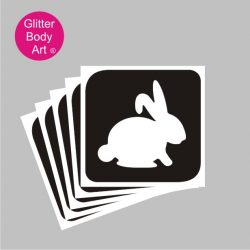 bunny rabbit glitter tattoo stencil, easter bunny temporary tattoo