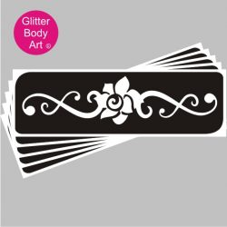 Rose Back temporary tattoo stencil for creating glitter tattoos