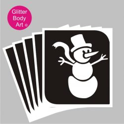 cute snowman with hat and scarf with carrot nose temporary tattoo stencil
