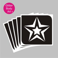 small star inside a large star, double stars temporary tattoo stencil